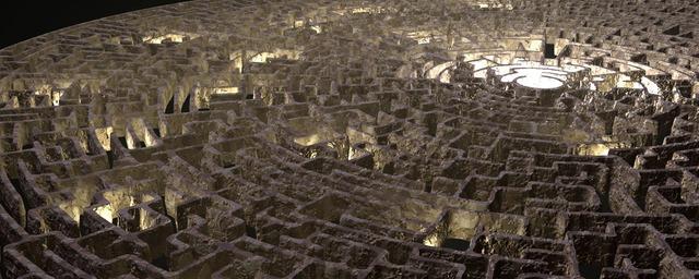 osvětlený labyrint